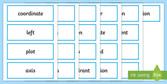 LKS2 Position and Direction Key Word Cards - maths words, maths vocabulary, topic words, coordinates, quadrant, translate, translation