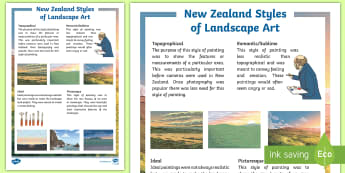 New Zealand Styles of Landscape Art Fact File - the arts, art, nz, landscape, countryside, topographical, influential, style