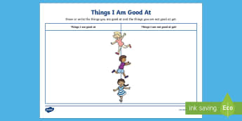 KS1 Things I Am Good At Activity Sheet - new class activities, the power of yet, First week back, all about me, worksheet