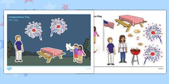 4th of July Cut and Stick Scene - usa, america, 4th of july, independence day, cut and stick