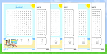 Summer Themed Differentiated Word Search - nz, new zealand, seasons, weather, games