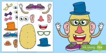 Design Your Own Potato Character Activity - Cut-outs, Cut And Stick, Mr Potato Head, Mrs Potato Head, supertato, super potato,