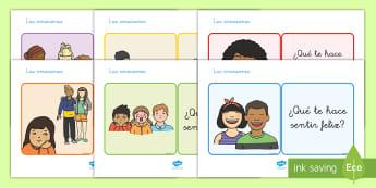 Tarjetas educativas: Las emociones y los sentimientos - emociones, sentimientos, tarjetas, preguntar, preguntas, emoción, sentir, auto estima, todo sobre m