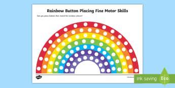 Rainbow Button Placing Fine Motor Skills Activity Sheet - fine motor skill, motorskills, fine motorskills, finemotor, colour recognition, colour, paint, finge