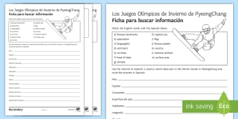 Winter Olympics 2018 Research with Support Activity Sheet Spanish - look, information, internet, books, group, pair, work, worksheet