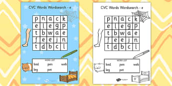 CVC Wordsearch e - word search, word games, find the word, CVC