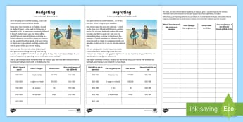 Budgeting for a Summer Holiday Money Activity Sheet English/Afrikaans - math, numeracy, seasons, weather, wiskunde, geletterdheid, EAL,Australia