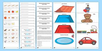 Three ICW Toy Box Activity Sheet - ICW, information carrying words, early years, receptive language, Derbyshire Language Scheme, worksh
