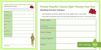Persuasive Speech Activity Sheet to Support Teaching on 'Private Peaceful' by Michael Morpurgo - Persuasive writing, persuasive devices, Persuasive techniques, Speech, KS3 persuasive writing, Priva