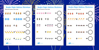 Bonfire Night Fireworks Addition Sheet - bonfire night, fireworks, addition sheet, addition, adding, numeracy, maths, plus, counting, counting and addition