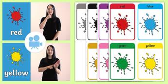 Colours British Sign Language (BSL) Video Pack  - colours, british sign language, bsl, hearing impaired, makaton, SSE, deaf, deaf student, deaf pupil,