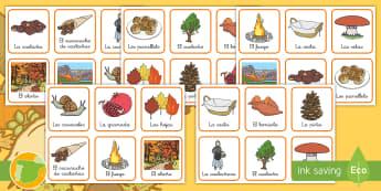 La castañada Tarjetas de emparejar - otoño, fiestas, tradiciones, castañas, castañera,