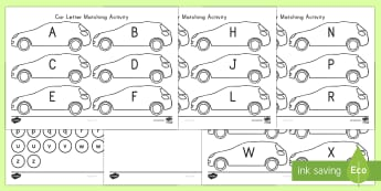 Car Letter Matching Activity - transportation, letter matching, transportation activity, vehicles, cars, Letter knowledge