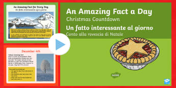 Amazing Fact Of The Day Countdown To Christmas PowerPoint English/Italian - Amazing Fact Of The Day, activity sheets, PowerPoint, starter, morning activity, December, Christmas