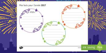 Mes buts pour l'année 2017 Supports pour la production écrite - Nouvel An, nouvelle année, bonne, résolution, resolution, New Year, writing, écrire, écriture, 2