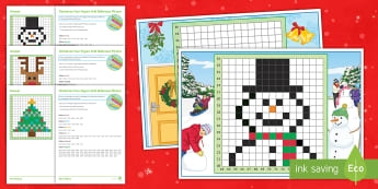 Christmas Four-Figure Grid Reference Activity Sheets - maps, plotting, KS3, KS4, santa, worksheets, christmas, four-figure, grid, reference, snowman, reind