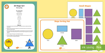 2D Shape Sorting Sensory Bag - shape space and measure, square, rectangle, triangle, circle, sensory play