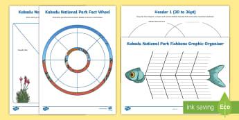 Kakadu National Park Graphic Organiser Activity Sheets - Australian landmarks, Australian geography, heritage listing, Indigenous history, aboriginal history