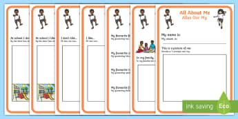 All About Me Booklet English/Afrikaans - I, myself, family, people, writing, ek, familie, EAL