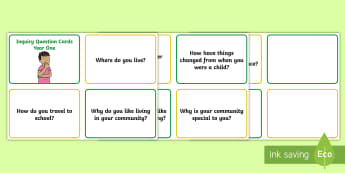 Year One Inquiry Questions Question Cards - KS1 Geography, connections to places, home, where do you live, travel, transportation, change, think
