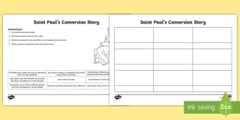 Saint Paul's Conversion Story Sequencing Activity Sheet - St Paul, Religion, Christian, Risen Jesus Christ, Drawing, Catholic,Irish, worksheet