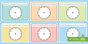 Zeitangabe Knetunterlage - Knete, Playdoh, kneten, Knetunterlage, Zeit, Zeitangabe, Zeit angeben, Zeit lesen, Uhrzeiger, German