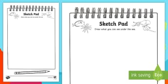 Under the Sea Themed Sketch Pad Activity - places, role play, animals, under the sea, ocean, animals under the sea, fish, sketch pad, draw, dra