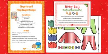 Christmas Gingerbread Man Playdough Busy Bag - Gingerbread, Christmas, EYFS