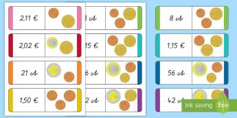 Euromünzen Dominokarten - Euro, Geld, Münzen, Scheine, Cents, Spiel, Spaß, Spanish