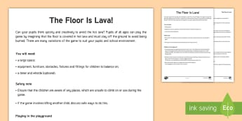 The Floor is Lava Game - challenge, class game, fun game, team game, outdoor game