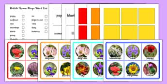 Common British Flowers Bingo Game - common british flowers, bingo game, bingo, game, activity, british flowers, british, flowers
