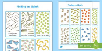 Finding an Eighth Activity Sheet - KS1 Maths, eighth, whole, part of, find, solve, divided, shared, grouped, year 1, year 2, fractions,