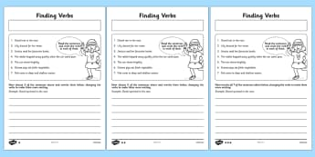 Finding Verbs Worksheet / Activity Sheet - finding, verbs, activity, sheet, worksheet