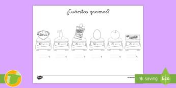 Ficha de actividad: ¿Cuántos gramos? - medida, peso, masa, gramos, convertir, kilogramos, g, kg, unidades, unidad, mates, matemáticas, fic