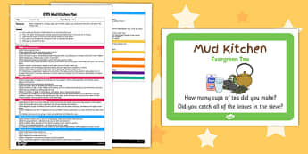 Evergreen Tea EYFS Mud Kitchen Plan and Prompt Card Pack - mud kitchen