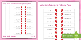 Valentine's Factorising Matching Pairs Differentiated Worksheet / Activity Sheets - Maths, valentine, Factorising, Linear, quadratic, Expanding, worksheets,