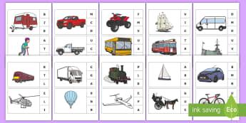 Marcheză litera corespunzătoare primului sunet: Mijloace de transport Activitate - sunet și litera, sunete și litere, litere, litere de tipar, activități, jocuri, fonetică, Roman