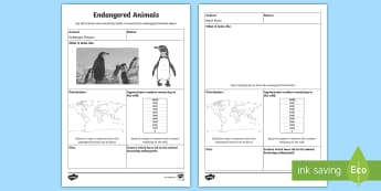 Endangered Animals Fact Sheet - Endangered Animals, Animals, Research, Report, Informational writing, informative