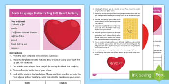 Scots Language Mother's Day Felt Heart Craft Instructions - Mum, Activity, Gift, Present, Motor, Skills, sewing, Needle, Thread,