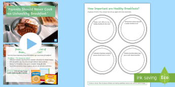 'Parents Should Never Cook an Unhealthy Breakfast.' Debate Pack - food, bacon, egg, poverty, families, school, government, ks3, hot breakfast month