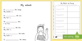 Mihi Worksheet / Activity Sheets English/Te Reo Māori - mihi, mihimihi, introducing, Te Reo Maori, Worksheets