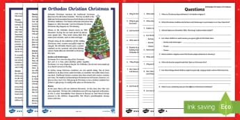 Orthodox Christmas Celebrations Differentiated Comprehension Challenge Sheets - festivals, world, reading, facts, christianity, christians, other countries, europe, european