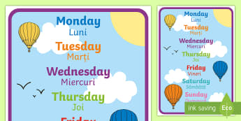 English Days of the Week Display Poster Romanian/English  - Days of the week, days, display, poster, EAL