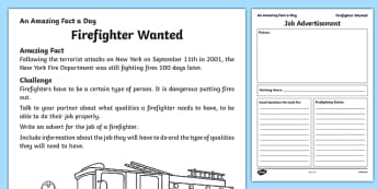 Firefighter Wanted Activity Sheet, worksheet