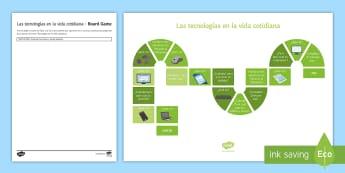 New Technologies Board Game - KS4, Spanish, New Technologies, everyday, life, ordenador, movil, teléfono, tableta, portatil, vide