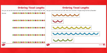 Ordering Tinsel Lengths Activity Pack