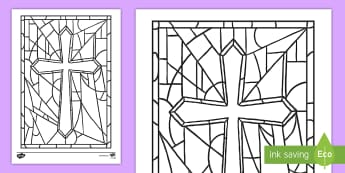 Stained Glass Cross Colouring Page - Confession & First Communion Resources,Irish