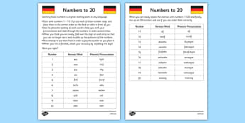 Numbers to 20 in German Activity Sheet - german, German worksheet, numbers to 20, activity