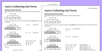 KS3_KS4 Maths Student Led Practice Sheets Algebra Collecting Like Terms - maths, KS3, KS4, GCSE, worksheet, practise, independent, growth mindset, algebra, collecting terms, terms, expressions, number pyramid