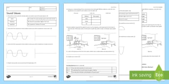 Sound Waves Homework Activity Sheet - Homework, worksheet, sound, sound waves, wave, waves, reflection, echo, noise, pitch, amplitude, wav